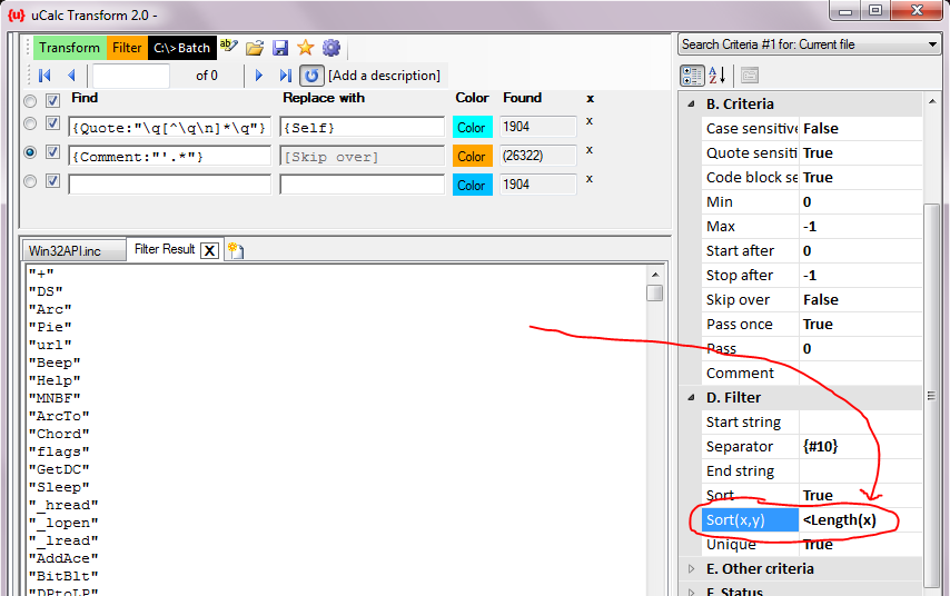 uCalc Transform tip: Extract literal strings from your PB code